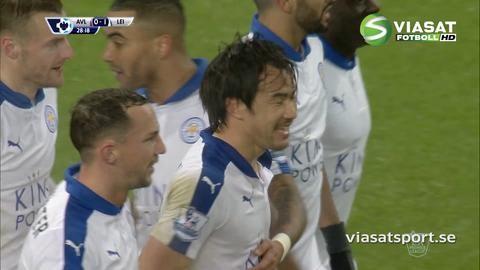 Mål: Okazaki trycker in returen efter Vardys läckra lobb (0-1)