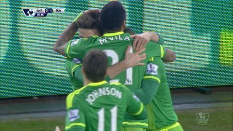 Mål: Sunderland tar ledningen efter tidigt mål av Defoe (0-1)
