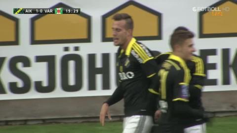 Fredrik Brustad lyfter in 1-0 till AIK