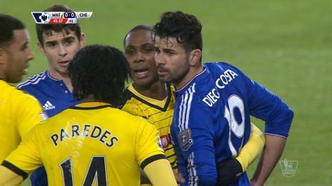 Höjdpunkt: Costa i het duell med Paredes