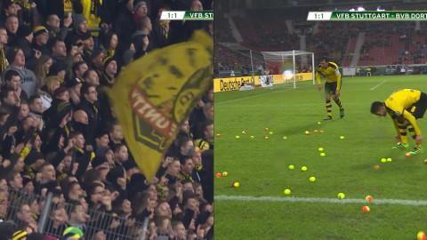 Höjdpunkt: Fansen får matchen avbruten - med tennisbollar