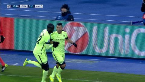 Mål: Agüero ger City ledningen mot Dynamo (0-1)