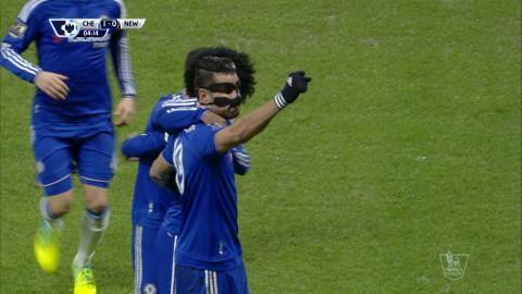 Mål: Costa tåar in ledningsmålet för Chelsea (1-0)