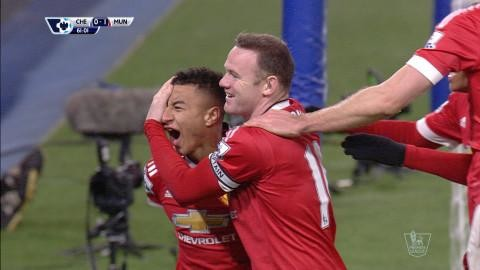 Mål: Lingard dundrar in ledningen för United (0-1)