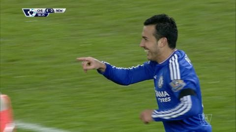 Mål: Pedro sätter sitt andra för kvällen (4-0)