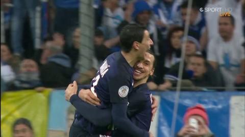 Zlatan assisterar Di Maria till 2-1 mot Marseille