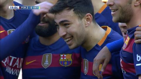 Mål: El Haddadi sätter fram huvudet på Messis inspel (2-0)