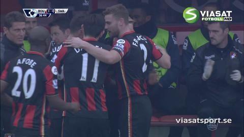 Mål: Fabianski missar - Gradel sätter ledningsbollen (1-0)