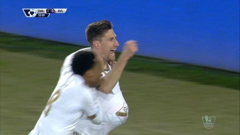 Mål: Fernandez öppnar målskyttet mot Villa (1-0)