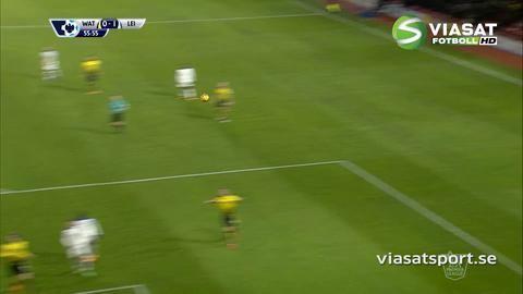 Mål: Mahrez placerar läckert in ledningen för Leicester (0-1)