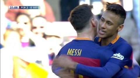 Mål: Neymar utökar på fint framspel av Messi (3-0)