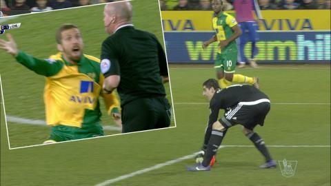 Video: Norwich rasar när Courtois plockar upp bollen