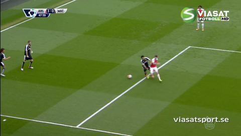 Mål: Bellerins skott letar sig in i nätmaskorna (3-0)