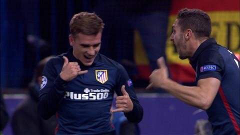 Mål: Griezmann nickar in ledningsmålet för Atlético (1-0)
