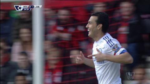 Mål: Pedro öppnar målskyttet mot Bournemouth (0-1)