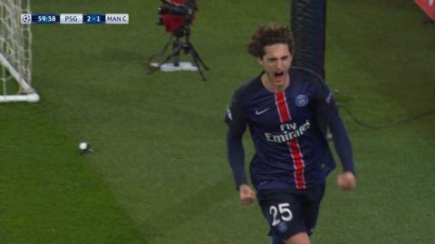 Mål: Rabiot fullbordar vändningen för PSG (2-1)