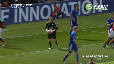 Mål: Skyttekungen Vardy ger Leicester ledningen (1-0)