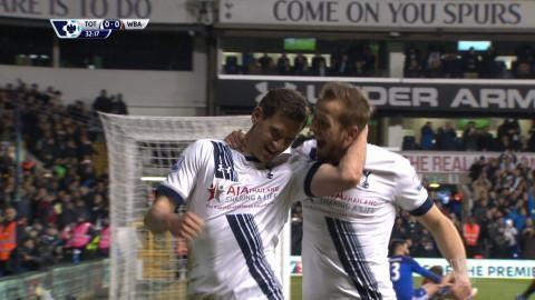 Mål: Spurs tar ledningen efter självmål av Dawson (1-0)