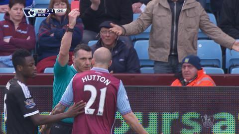 Video: Hutton utvisad efter två snabba gula mot Chelsea
