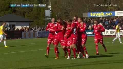 Bajrami knorrar in 2-1 på frispark - första allsvenska målet i år