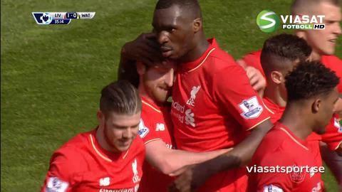 Mål: Allen placerar in ledningsmålet för Liverpool (1-0)