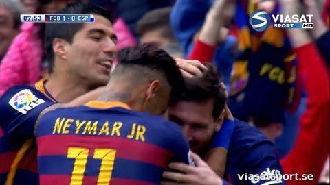 Mål: Messis öppnar målskyttet med magnifik frispark (1-0)