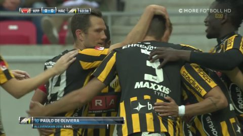 MÅL: Paulinho ger Häcken ledningen - vinner duellen mot Elm