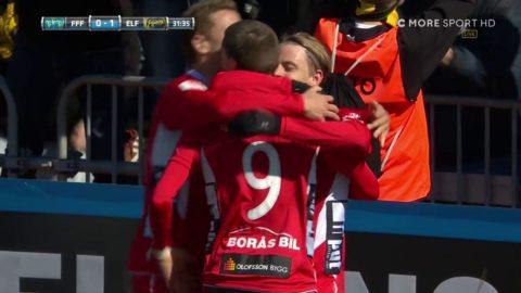 Simon Hedlund gör 1-0 via stolpen