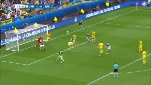 Nordirland får matchen första heta läge - Cathcart med nicken