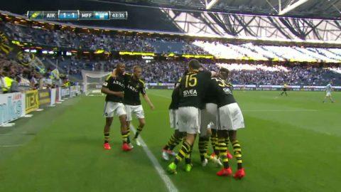 Kaos i MFF-försvaret - Avdic gör 1-0 för AIK