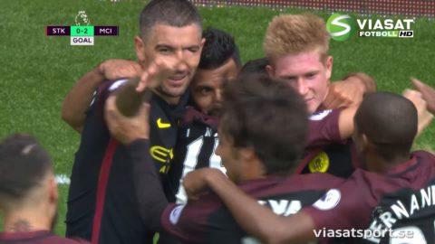 MÅL: Agüeros stekheta start - nickar in sitt andra mål mot Stoke