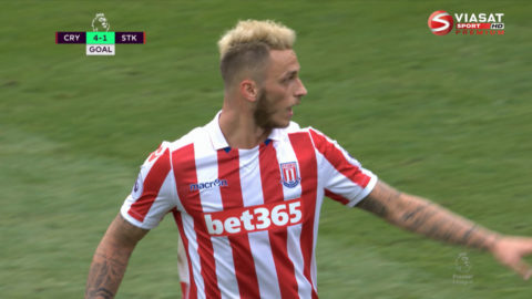 Mål: Arnautovic för in ett tröstmål för Stoke (4-1)