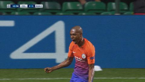 Mål: Fernandinho placerar in kvitteringen för City (1-1)