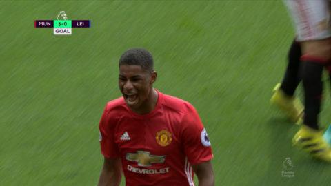 Mål: Rashford avslutar Uniteds hörnvariant (3-0)