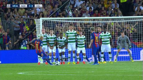 Neymar nätar med drömfrispark (3-0)