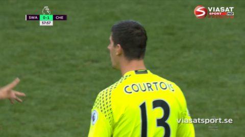 TV: Swansea utjämnar på straff efter Courtois misstag