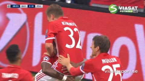 MÅL: Alabas skyhöga inlägg blir perfekt - Bayern utökar ledningen (2-0)