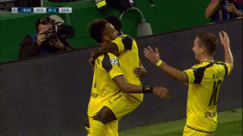 MÅL:  Aubameyang ger Dortmund ledningen genom iskall chipp (1-0)