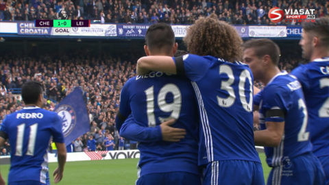 Mål: Costa öppnar målskyttet mot Leicester (1-0)