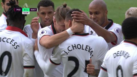 Mål: Holebas öppnar målskyttet mot Middlesbrough (0-1)