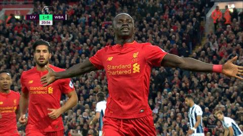Mål: Mané öppnar målskyttet mot West Bromwich (1-0)