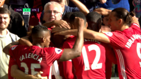Mål: Martial öppnar målskyttet på Old Trafford (1-0)