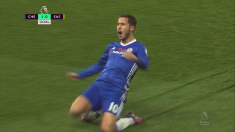 Mål: Hazard öppnar målskyttet på Stamford Bridge (1-0)