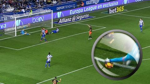 Var bollen inne eller inte? - omtalat mål räddade poäng för Valencia