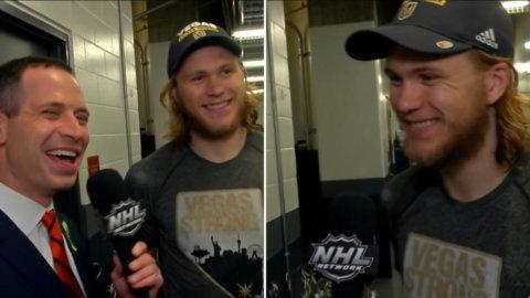 """Karlssons sköna svar får reportern att skratta: """"Jag hade min Vegas-tröja som barn"""""""