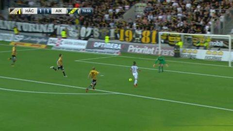 Kristoffer Olsson missar ett superläge att ge AIK lednignen mot Häcken