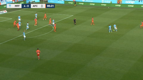 Christiansen skjuter in 5-0 till MFF mot AFC